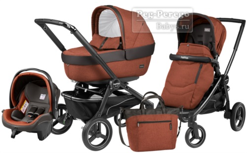 Коляска 3 в 1 Peg Perego Team Elite Set Modular Terracotta