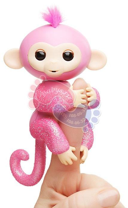 Интерактивная обезьянка Fingerlings в блестках Роза 3764