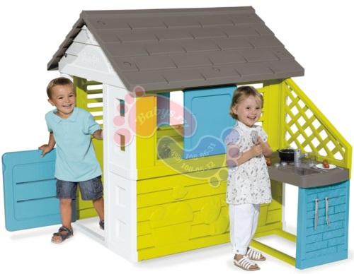 Детский домик с кухней Smoby 810711 синий