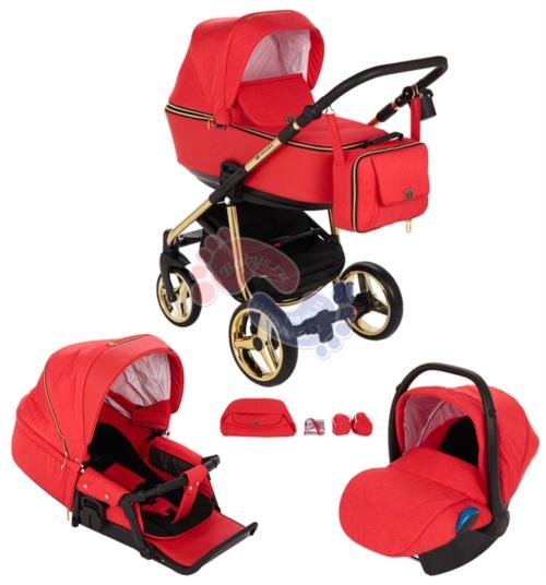 Коляска Adamex Reggio Special Edition 3 в 1 Y832 кожа красная/красная