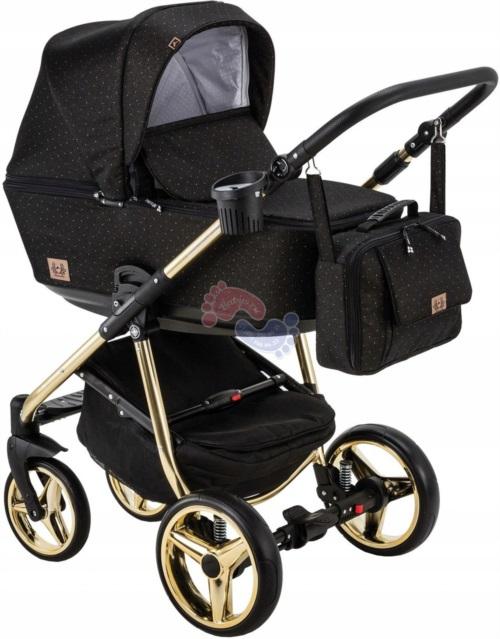 Коляска Adamex Reggio Special Edition Lux 3 в 1 Y117 черная/золотые точки