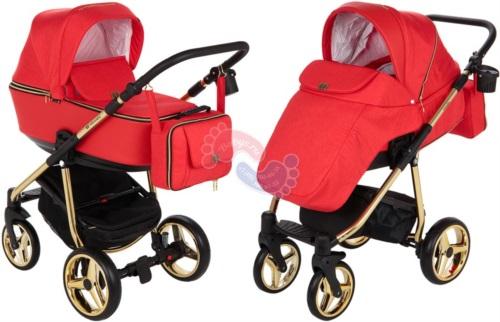 Коляска Adamex Reggio Special Edition 2 в 1 Y832 кожа красная/красный
