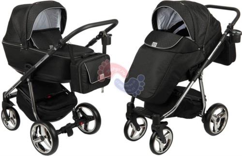 Коляска Adamex Reggio Special Edition Lux 2 в 1 Y69 кожа черная/серебряные точки