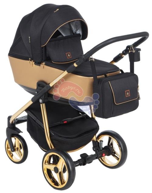 Коляска Adamex Barcelona Special Edition 3 в 1 BR-403 кожа золотая/черный