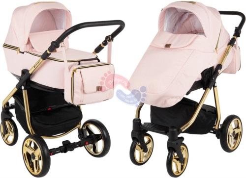 Коляска Adamex Reggio Special Edition 2 в 1 Y813 кожа розовая/розовый