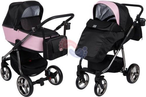 Коляска Adamex Reggio Special Edition 2 в 1 Y839 кожа пудровая/черный принт розовые точки