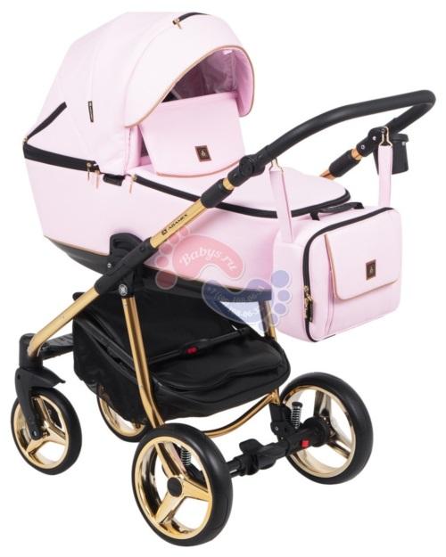 Коляска Adamex Barcelona Special Edition 3 в 1 BR-328 кожа розовая/золото