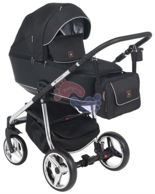 Коляска Adamex Barcelona Special Edition 3 в 1 BR-605 кожа черная/черный жаккард/серебро