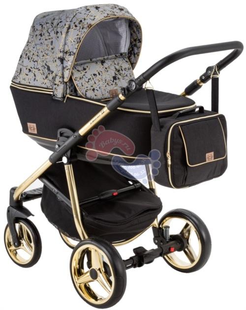 Коляска Adamex Reggio Special Edition 2 в 1 Y842 черный/св.серая/золотые фигуры/рама золотая