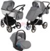 Коляска Adamex Reggio Special Edition Lux 3 в 1 Y831 кожа серая/серый/серая рама