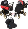 Коляска Adamex Reggio Special Edition 3 в 1 Y804 кожа красная/графит