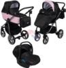 Коляска Adamex Reggio Special Edition 3 в 1 Y839 кожа пудровая/черный принт розовые точки