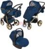 Коляска Adamex Reggio Special Edition Lux 3 в 1 Y807 кожа т.синяя/т.синий