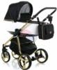 Коляска Adamex Reggio Special Edition 2 в 1 Y802 черно-белая/кожа/золотая рама